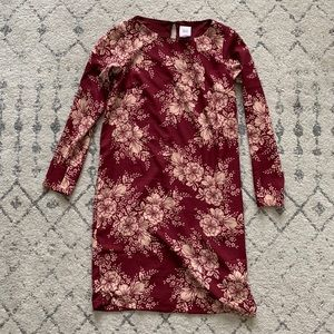 ASOS Maternity Longsleeve Red Floral Shift Dress